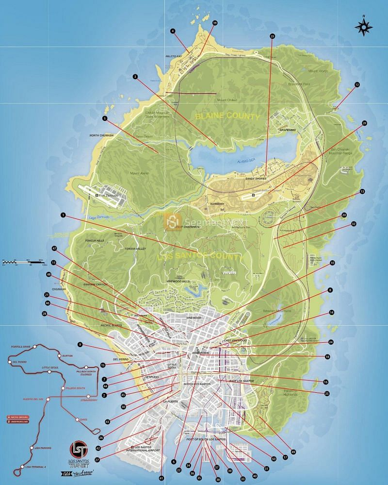 A list of all the locations in GTA 5 (Image via u/signguy21, r/gtaonline)