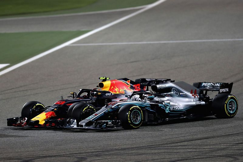 Lewis Hamilton fended off a charging Max Verstappen in the dying stages of the Bahrain Grand Prix. Photo: Lars Baron/Getty Images.