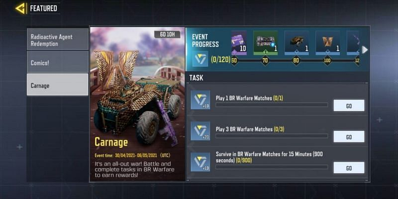 The Carnage event features five rewards (Image via Activision)