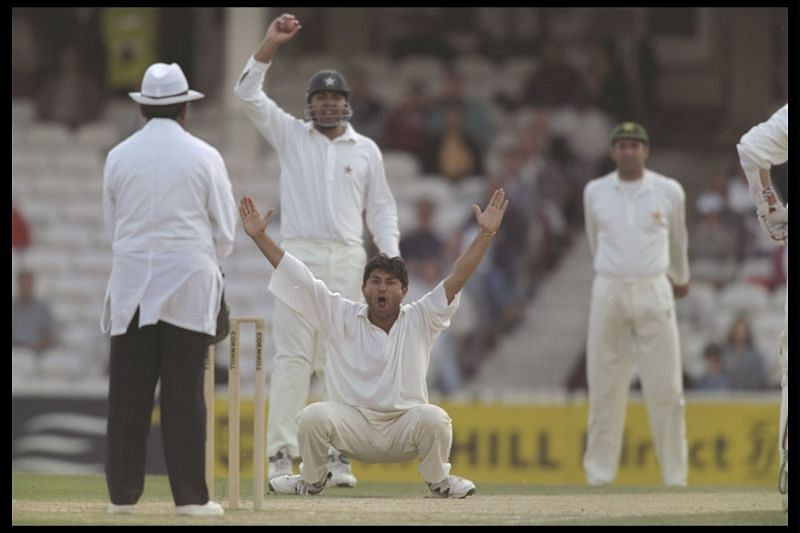 Mushtaq Ahmed, here seen bowling in England, proved to be the game-changer with the bat