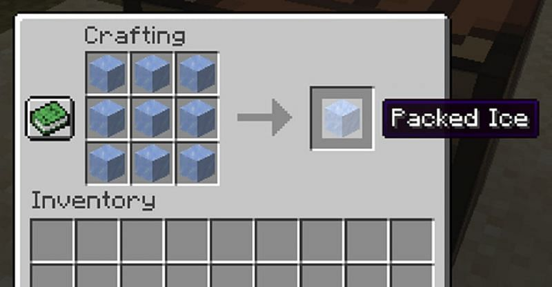 A crafting recipe for packed ice (Image via Minecraft)