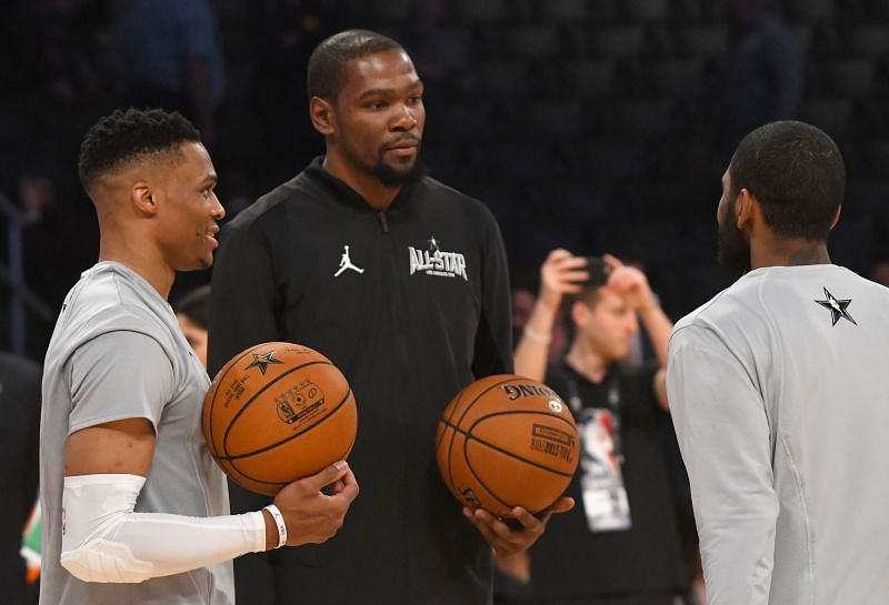 Former teammates Russell Westbrook (left) and Kevin Durant (right)