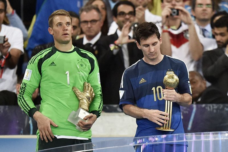 Manuel Neuer with the Golden Glove and Lionel Messi with the Golden Ball at the 2014 FIFA World Cup