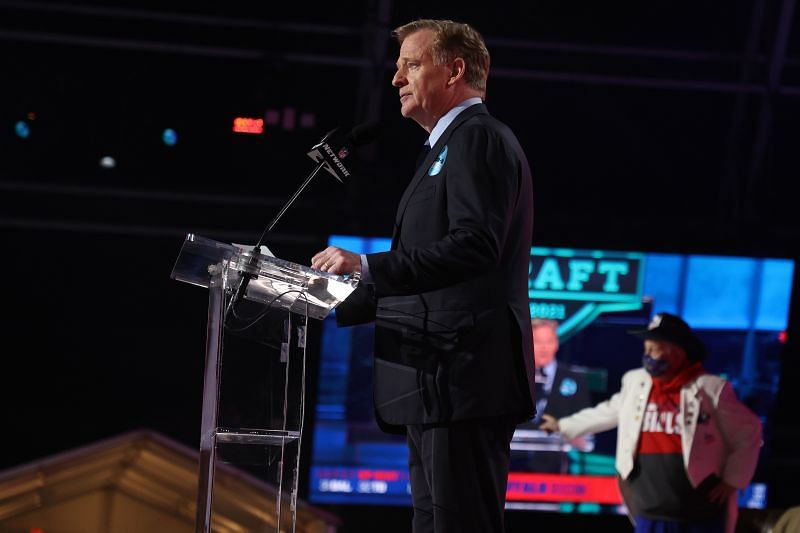 NFL Commissioner Roger Goodell announces Gregory Rousseau being selected 30th overall by the Buffalo Bills during 2021 NFL Draft at the Great Lakes Science Center on April 29, 2021, in Cleveland, Ohio.