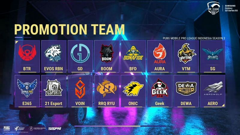 Qualified teams for PMPL Season 3 Indonesia Finals