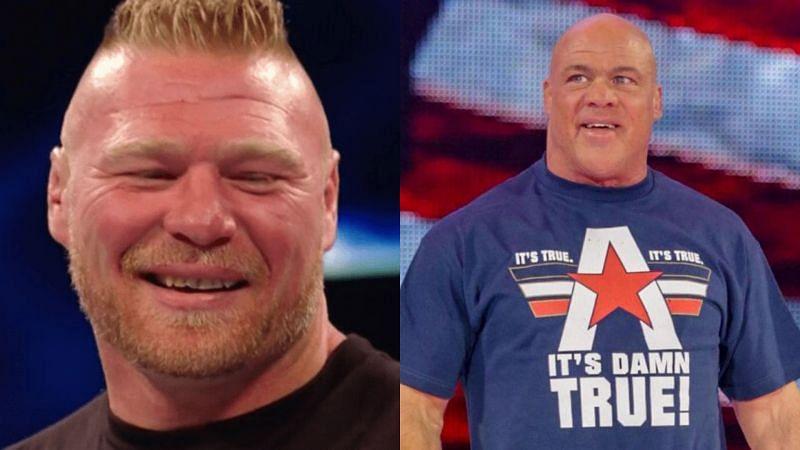 Brock Lesnar and Kurt Angle.