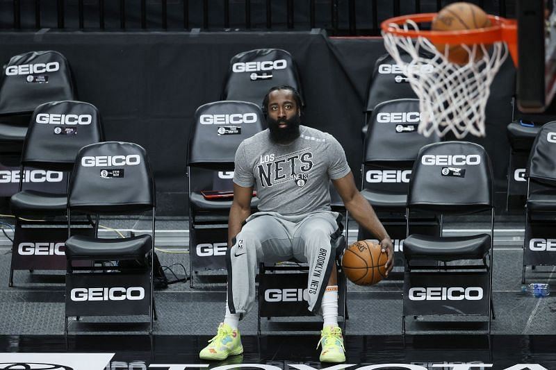 James Harden #13 warms up before a game,