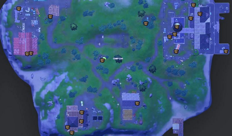 20 chests are located at Camp Cod (Image via Fortnite.gg)