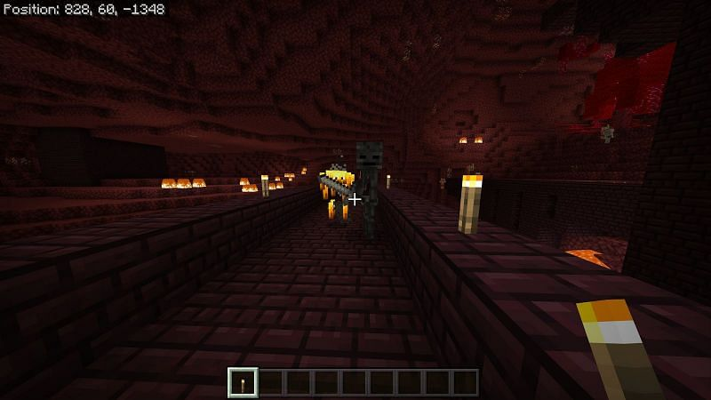 Wither skeletons will only spawn near a nether fortress, they are 3 blocks tall and can inflict the wither debuff so try to stay under a 2 block high ceiling when you are approaching these enemies.
