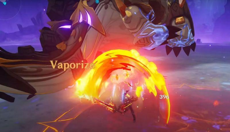 Azhdaha boss battle in Genshin Impact: Diluc triggering Vaporize (image via Mtashed)