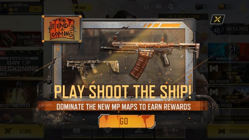 """The """"Shoot the Ship"""" featured challenge in COD Mobile (Image via Activision)"""