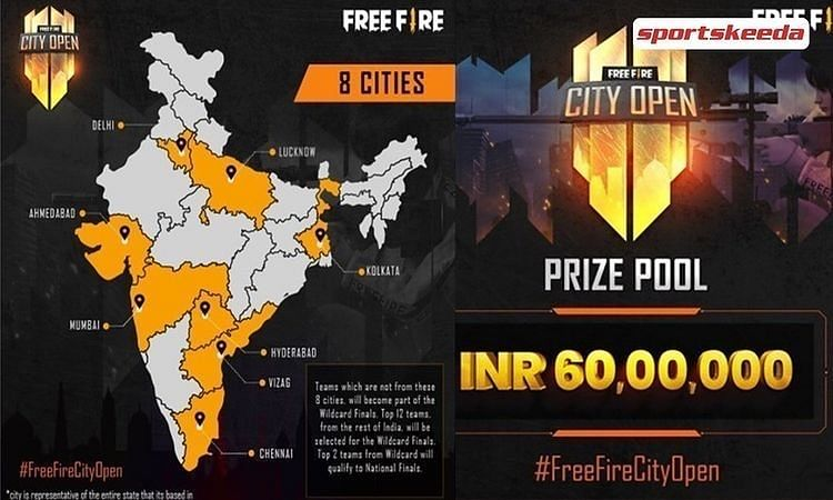 Free Fire City Open participating cities
