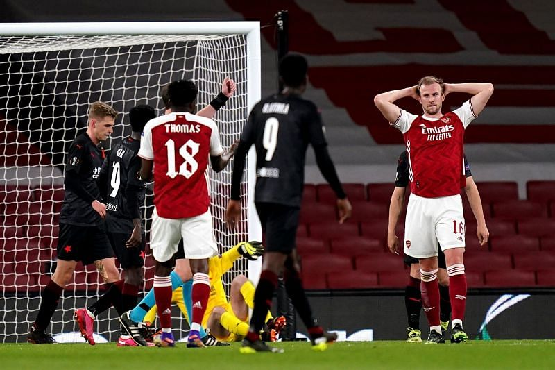 Arsenal were held to a 1-1 draw in the first leg of their UEFA Europa League fixture against Slavia Prague