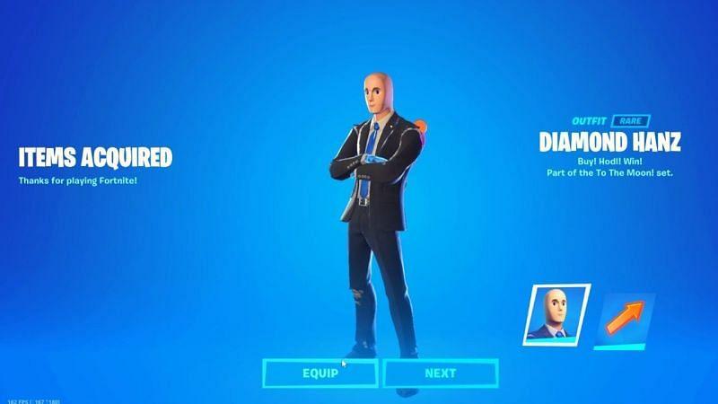 The new Stonks meme-themed Diamond Hanz skin in Fortnite (Image via Epic Games)