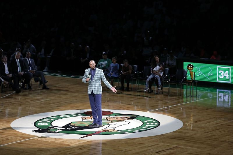 Paul Pierce speaks during his jersey retirement ceremony Paul Pierce is wheelchaired off the court