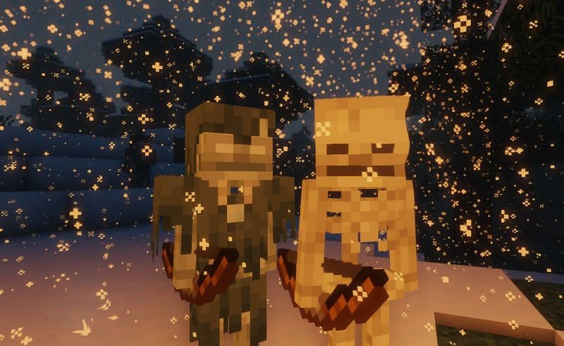 Shown: A Stray and Skeleton up close and personal (Image via Minecraft)