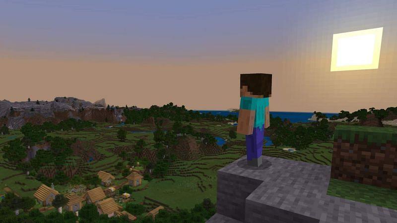 Steve overlooking a Minecraft world (Image via usgamer)