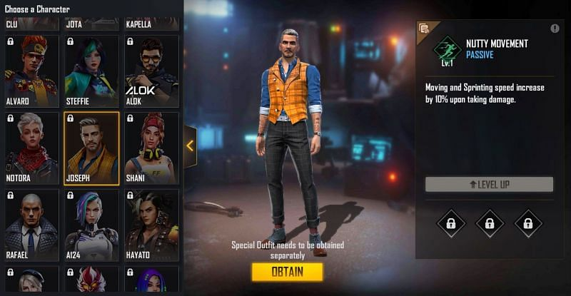 Joseph character in Free Fire