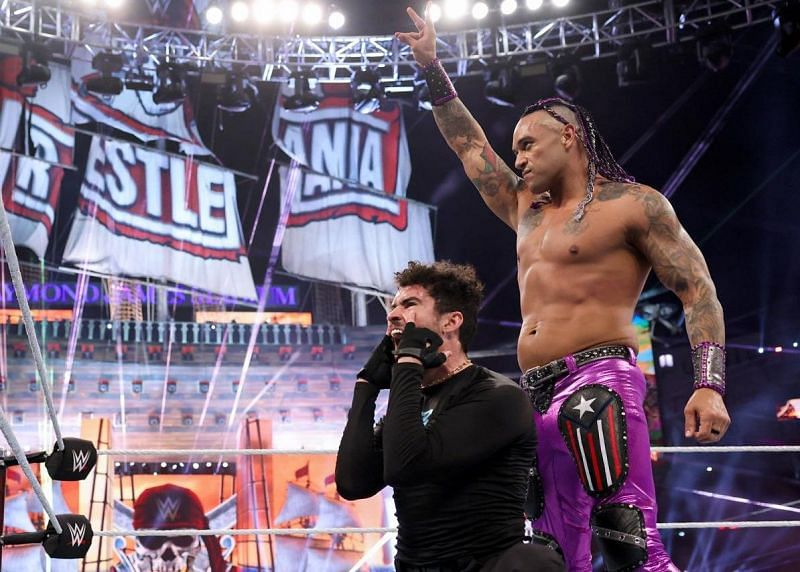 Damian Priest and Bad Bunny celebrate a big win at WrestleMania 37