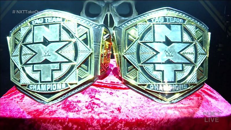 The WWE NXT Tag Team Championships on display at TakeOver: Stand & Deliver