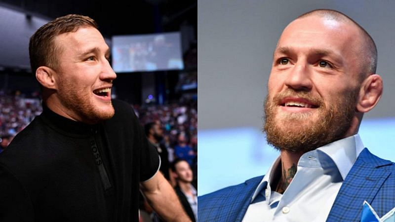 Justin Gaethje (left) and Conor McGregor (right)