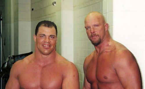 Kurt Angle and Stone Cold backstage