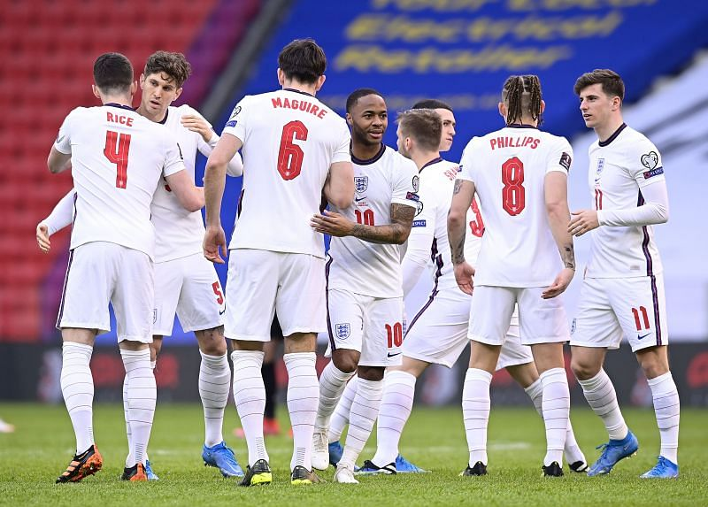 England players during their World Cup qualifier against Albania.