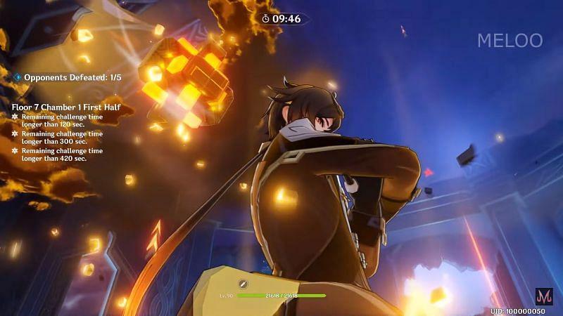 Zhongli using his Elemental Burst in Genshin Impact (image via MELOO)
