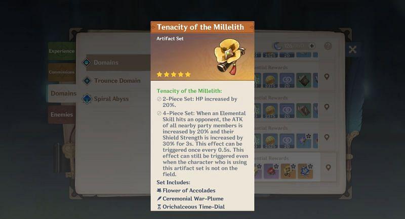 Tenacity of the Millelith artifact set bonuses (Image via Genshin Impact)