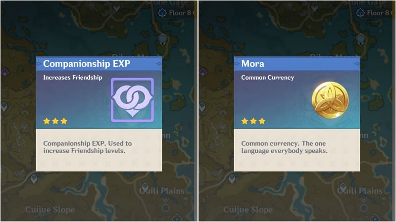 Mora and Companionship EXP in Genshin Impact