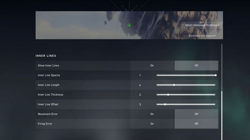 Inner line settings for a small crosshair (Screengrabbed from Valorant)