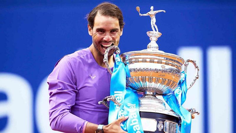 Rafael Nadal with the Barcelona Open trophy