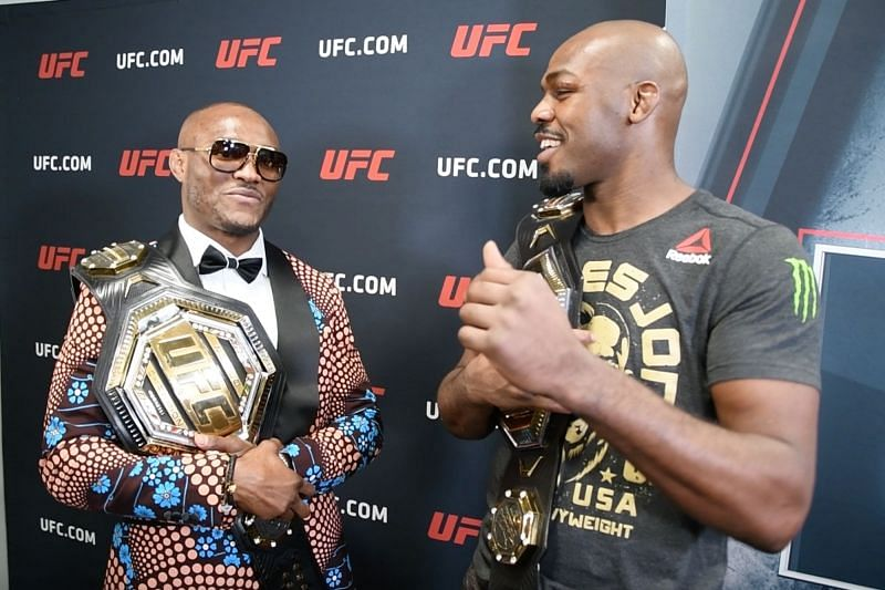 UFC P4P king Jon Jones (right) with the #2 UFC P4P fighter Kamaru Usman.