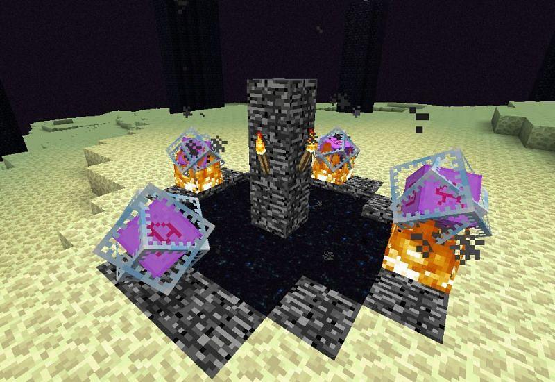 Four crystal method to respawn ender dragon (Image via gaming.stackexchange.com)