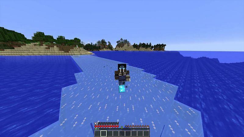 Minecraft frost walker on a lake (Image via Reddit)
