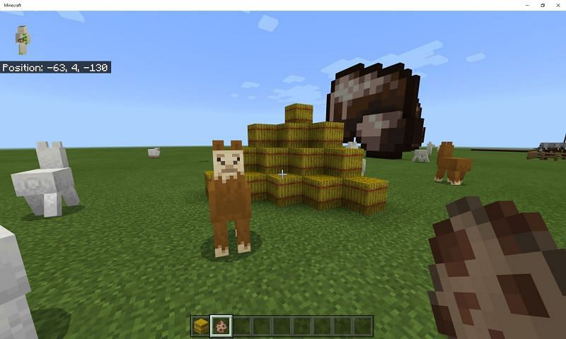 Llamas can be fed wheat and bread with hay bales, causing them to breed (Image via Mojang)