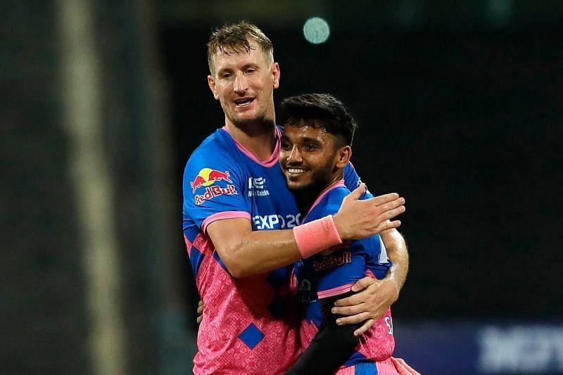 Chris Morris (left) and Chetan Sakariya. Pic: IPLT20.COM