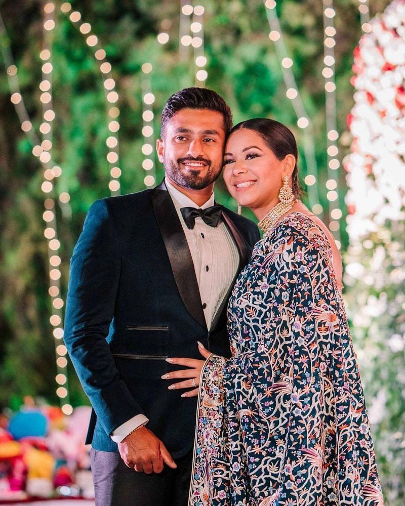 Karun Nair's Pic wedding pic with lovely wife Sanaya Tankariwala