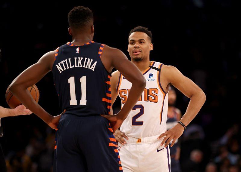 Frank Ntilikina of the New York Knicks against the Phoenix Suns