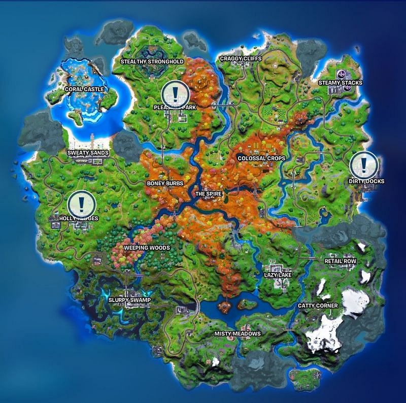 Image showing the location of the Fortnite soccer players. Image via Epic Games