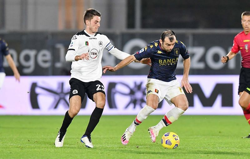 Genoa and Spezia are currently tied at 33 points each