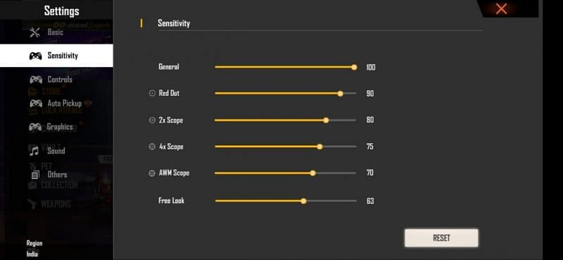 Best sensitivity settings for accurate headshots in Free Fire