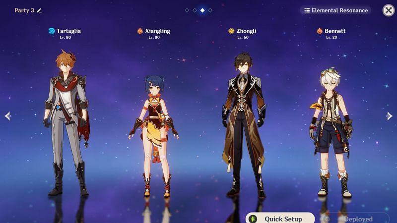 Genshin Impact party of Childe, Xiangling, Zhongli, and Bennett.