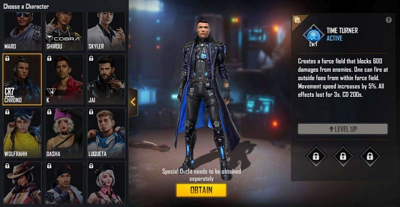 Chrono character in Free Fire