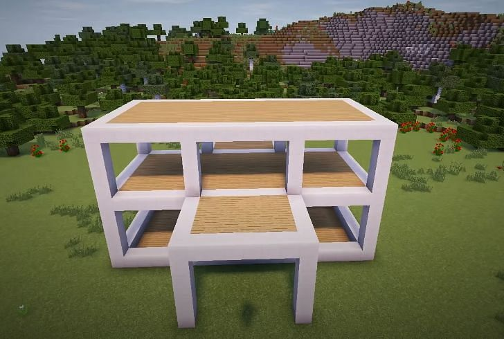 The roof of the upstairs scaffold must now be filled in (Image via YT, Greg Builds)
