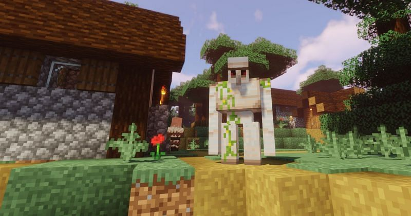 Shown: An Iron Golem valiantly defending his land (Image via Minecraft)