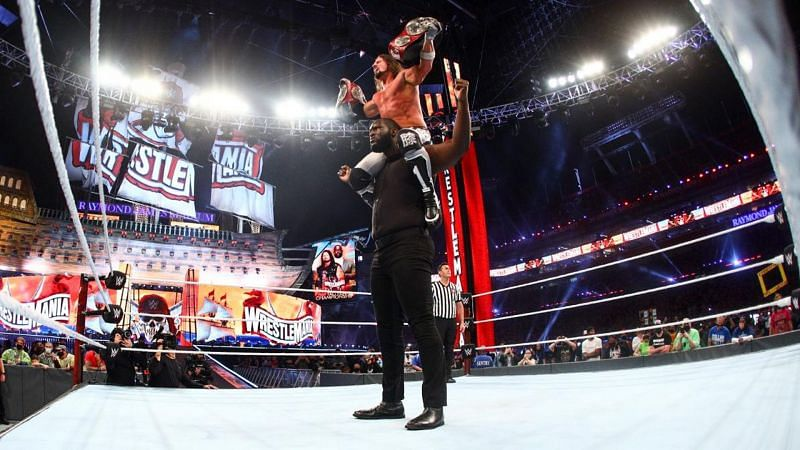 AJ Styles and Omos captured the RAW Tag Team Championships defeating The New Day at WrestleMania 37 Night One