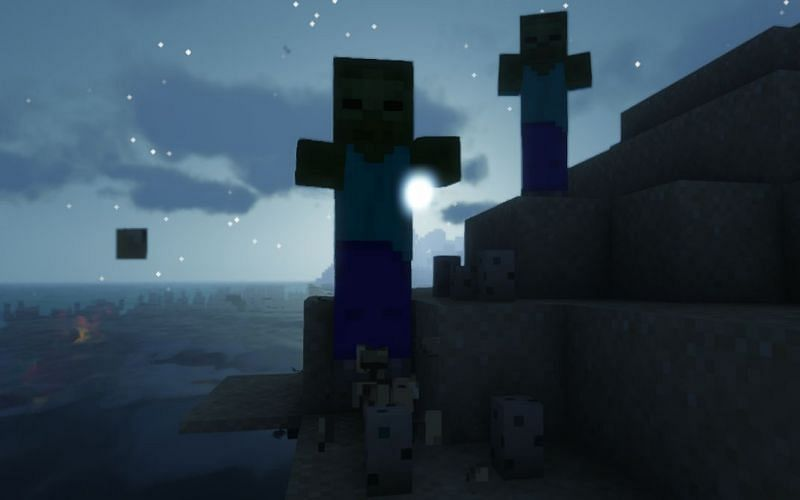 Shown: A tag-team of Zombies stomping on some eggs (Image via Minecraft)