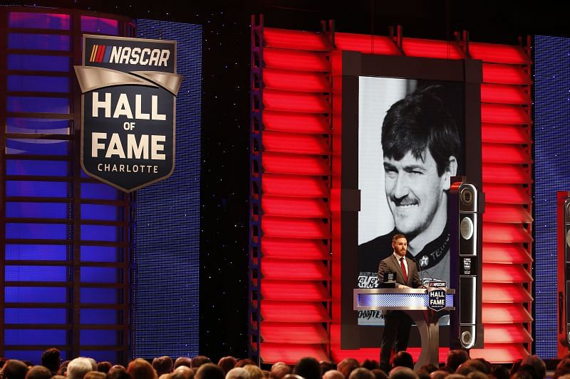 Robbie Allison speaks as Davey Allison is inducted into the NASCAR Hall of Fame during the 2019 NASCAR Hall of Fame Induction Ceremony in Charlotte, North Carolina. Photo: Brian Lawdermilk/Getty Images.