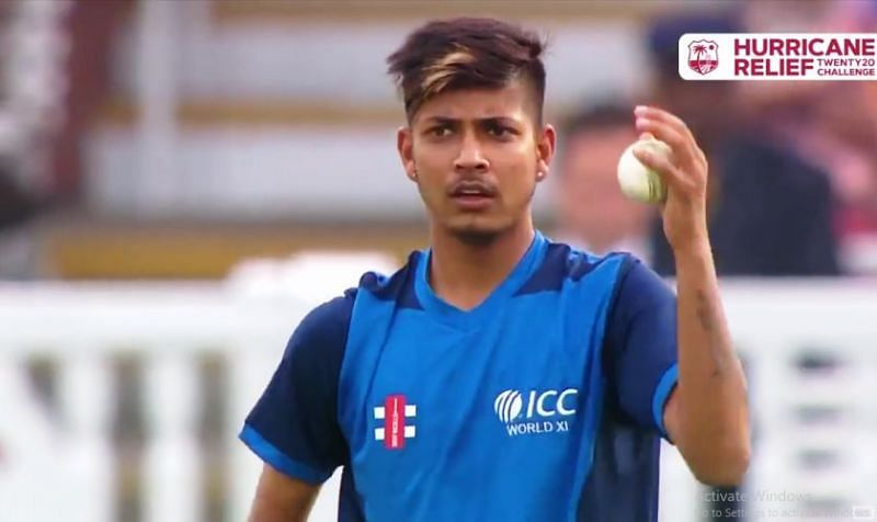 Sandeep Lamichhane in action for the World XI against the West Indies at Lord